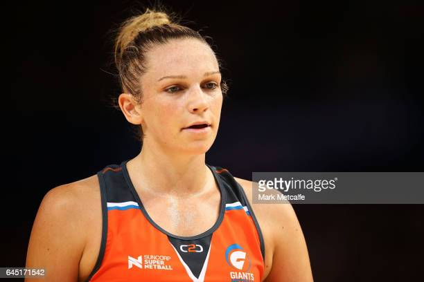 Jo Harten of the Giants looks on during the round two Super Netball match between the Giants and the West Coast Fever at Qudos Bank Arena on February...