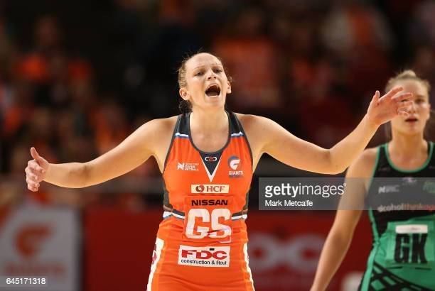 Jo Harten of the Giants reacts during the round two Super Netball match between the Giants and the West Coast Fever at Qudos Bank Arena on February...