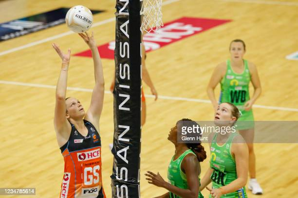 Jo Harten of the Giants shoots the ball during the Preliminary Final Super Netball match between the GWS Giants and West Coast Fever at University of...