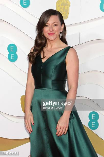 Jo Hartley arrives at the EE British Academy Film Awards 2020 at Royal Albert Hall on February 2, 2020 in London, England.