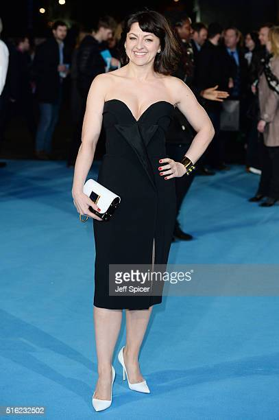 Jo Hartley arrives for the European premiere of 'Eddie The Eagle' at Odeon Leicester Square on March 17 2016 in London England