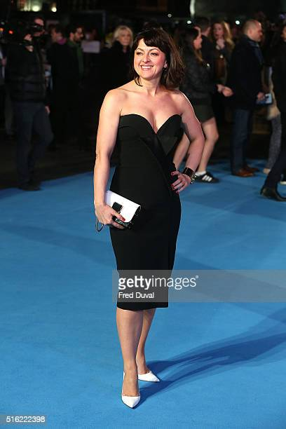 Jo Hartley attends the European Premiere of Eddie The Eagle at Odeon Leicester Square on March 17 2016 in London England