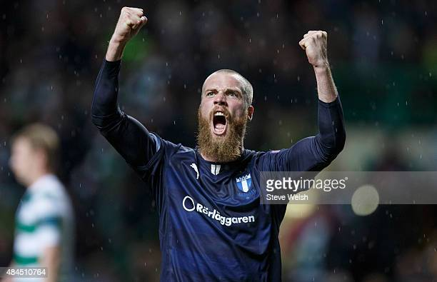 Jo Inge Berget of Malmo FF celebrates scoring his 2nd goal during the UEFA Champions League Qualifying Round playoff first leg match between Celtic...