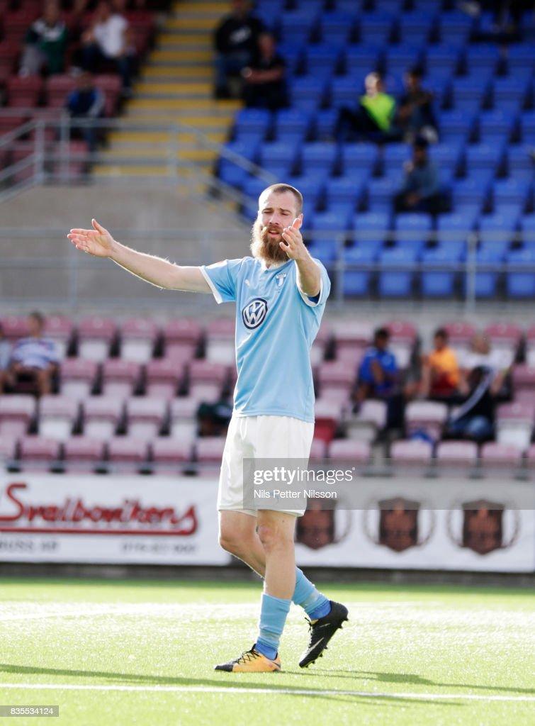 Jo Inge Berget of Malmo FF reacts during the Allsvenskan match between Athletic FC Eskilstuna and Malmo FF at Tunavallen on August 19, 2017 in Eskilstuna, Sweden.