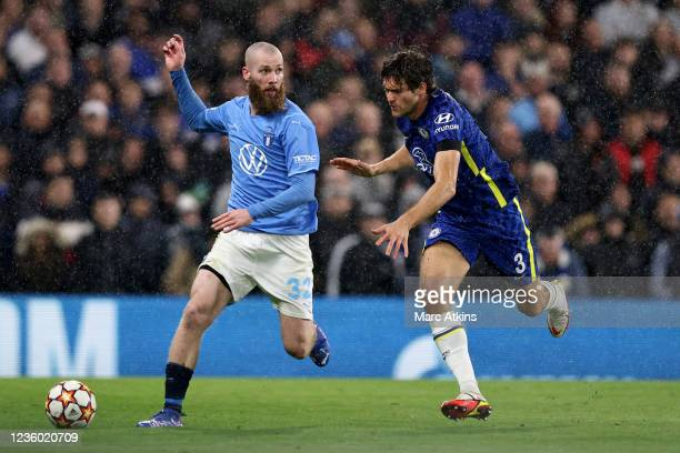 Jo Inge Berget of Malmo in action with Marcos Alonso of Chelsea during the UEFA Champions League group H match between Chelsea FC and Malmo FF at...
