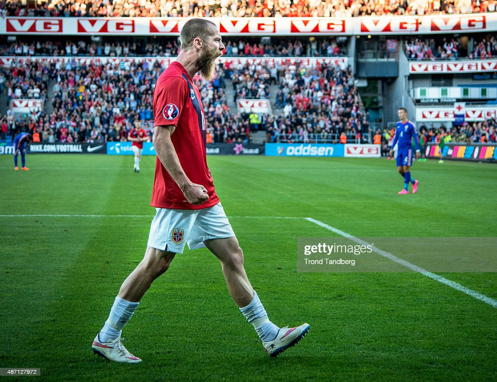 Jo Inge Berget of Norway celebrates after scoring a goal during the EURO 2016 Qualifier between Norway and Croatia at the Ullevaal Stadion on September 06, 2015 in Oslo, Norway.