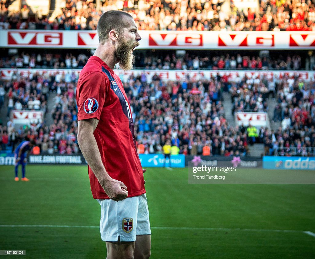 Jo Inge Berget of Norway celebration goal during the EURO 2016 Qualifier between Norway and Croatia at the Ullevaal Stadion on September 06, 2015 in Oslo, Norway.