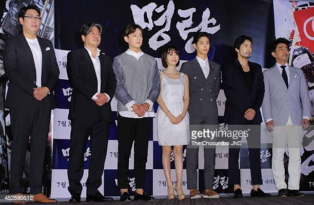 Jo JinWoong Choi MinSik Kwon Yul Lee JungHyun Park BoGum Otani Ryohei and Ryu SeungRyong attend the movie 'Roaring Currents' press premiere at...