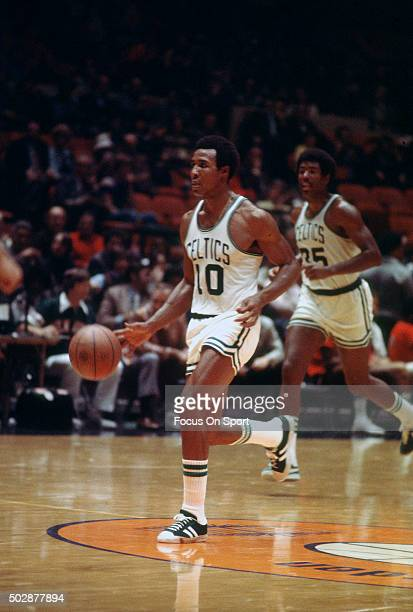 Jo Jo White of the Boston Celtics dribbles the ball up court during an NBA basketball game circa 1975 White played for the Celtics from 196979