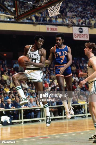 Jo Jo White of the Boston Celtics grabs the rebound against the New York Knicks circa 1974 at the Boston Garden in Boston Massachusetts NOTE TO USER...