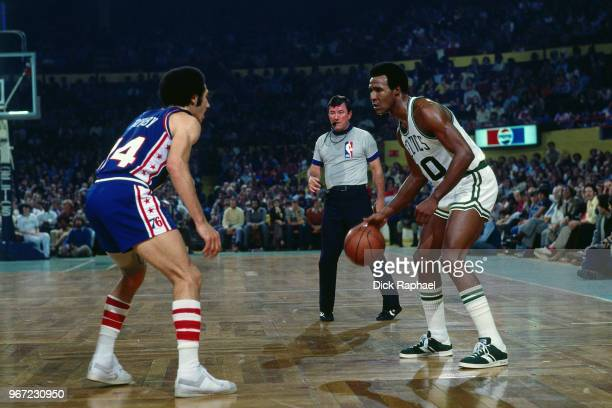 Jo Jo White of the Boston Celtics handles the ball against the Philadelphia 76ers circa 1974 at the Boston Garden in Boston Massachusetts NOTE TO...