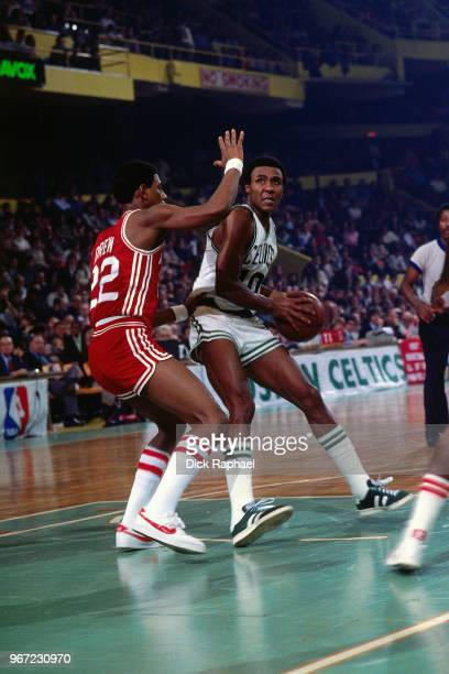 Jo Jo White of the Boston Celtics handles the ball against the Detroit Pistons circa 1980 at the Boston Garden in Boston Massachusetts NOTE TO USER...