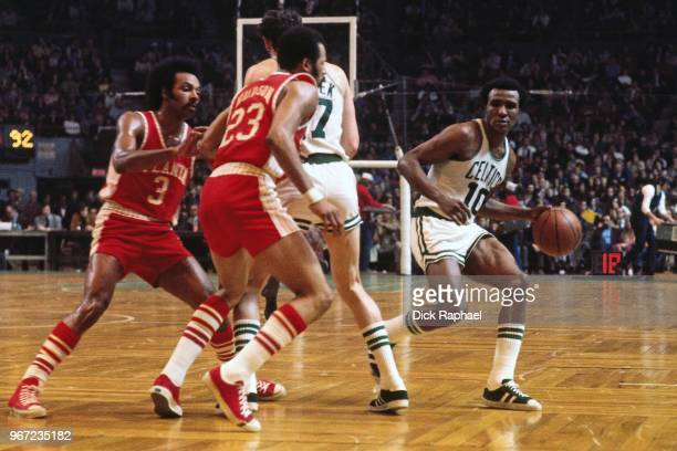 Jo Jo White of the Boston Celtics handles the ball against the Atlanta Hawks circa 1974 at the Boston Garden in Boston Massachusetts NOTE TO USER...