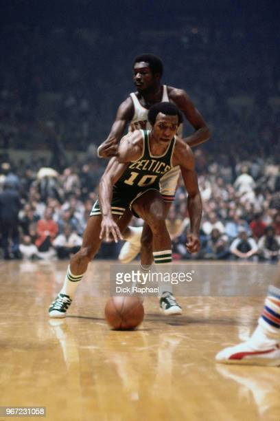 Jo Jo White of the Boston Celtics handles the ball against the New York Knicks circa 1974 at Madison Square Garden in New York City New York NOTE TO...