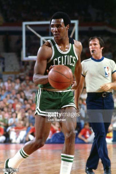 Jo Jo White of the Boston Celtics handles the ball against the Phoenix Suns circa 1978 at the Arizona Veterans Memorial Coliseum in Phoenix Arizona...
