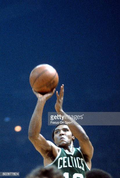 Jo Jo White of the Boston Celtics shoots against the Washington Bullets during an NBA basketball game circa 1975 at the Capital Centre in Landover...