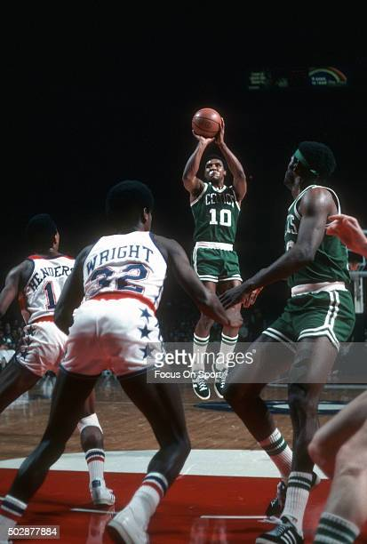 Jo Jo White of the Boston Celtics shoots against the Washington Bullets during an NBA basketball game circa 1977 at the Capital Centre in Landover...
