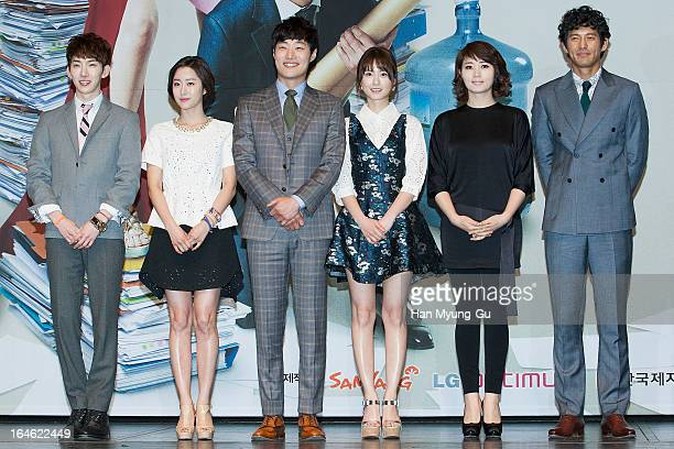 Jo Kwon of South Korean boy band 2AM and actors Jeon HyeBin Lee HeeJoon Jung YuMi Kim HyeSoo and Oh JiHo attend during the KBS2 Drama 'The Queen Of...