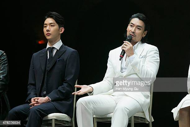 Jo Kwon of South Korean boy band 2AM and Shin SungWoo attend the press call Musical 'CHESS' on June 23 2015 in Seoul South Korea