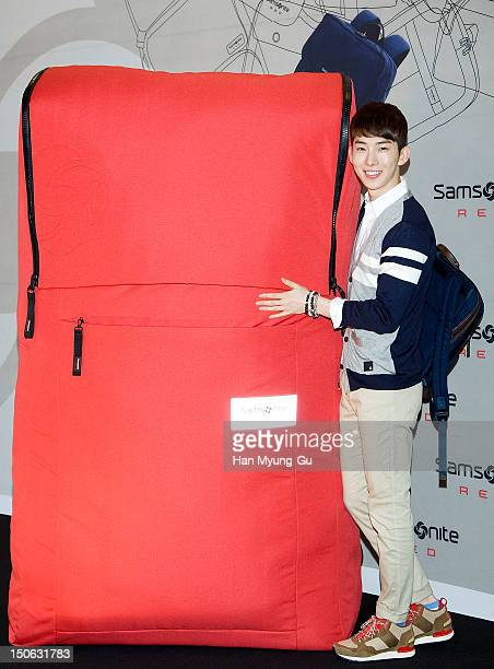 Jo Kwon of South Korean boy band 2AM attends during the 'Samsonite Red' 2012 F/W Pop Up Art Exhibition on August 23 2012 in Seoul South Korea