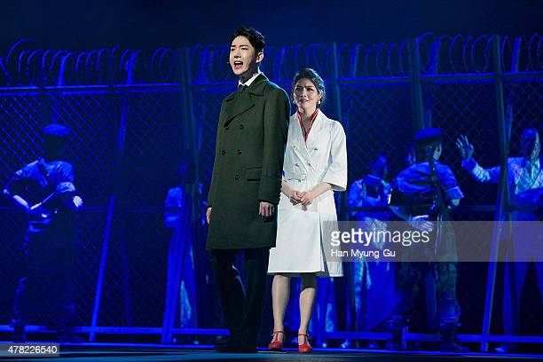 Jo Kwon of South Korean boy band 2AM attends the press call Musical 'CHESS' on June 23 2015 in Seoul South Korea