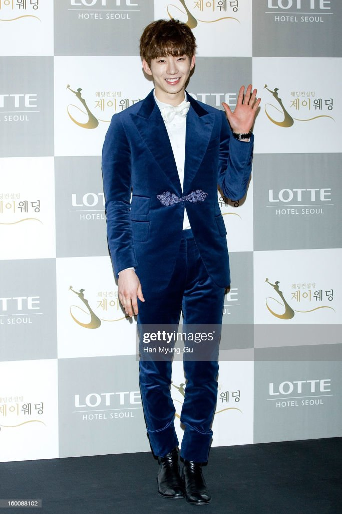 Jo Kwon of South Korean boy band 2AM attends the wedding of Sun of Wonder Girls at Lotte Hotel on January 26, 2013 in Seoul, South Korea.