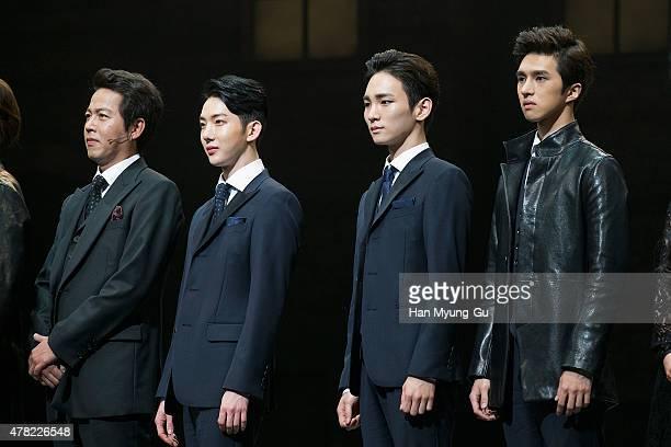Jo Kwon of South Korean boy band 2AM Key of South Korean boy band SHINee and Ken of South Korean boy band VIXX attend the press call Musical 'CHESS'...