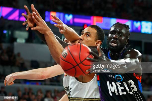 Jo Lual Acuil of United competes for a rebound during the round 8 NBL match between Melbourne United and the Brisbane Bullets at Melbourne Arena on...