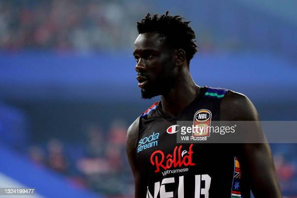 Jo Lual-Acuil of Melbourne United looks on during game one of the NBL Grand Final Series between the Perth Wildcats and Melbourne United at RAC...