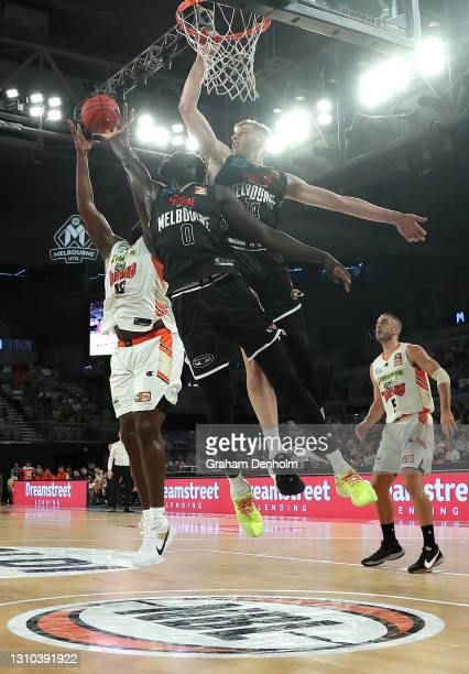 Jo Lual-Acuil of United drives at the basket during the round 12 NBL match between Melbourne United and the Cairns Taipans at John Cain Arena, on...