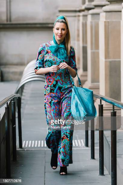 Jo Maillet at Melbourne Fashion Festival at National Gallery of Victoria on March 17, 2021 in Melbourne, Australia.