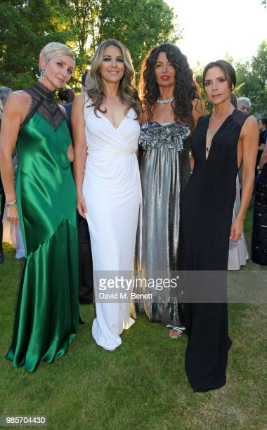 Jo Manoukian Elizabeth Hurley Afef Jnifen and Victoria Beckham attend the Argento Ball for the Elton John AIDS Foundation in association with BVLGARI...