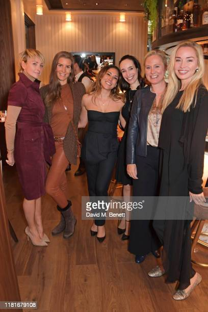 Jo Manoukian, guest, Lily Hodges, Elisabeth Dana, guest and Noelle Reno attend a lunch hosted by Amanda Staveley for 'Wellbeing Of Women', Britain's...