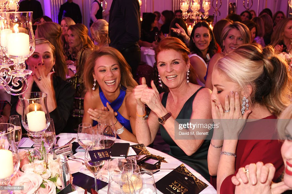 Jo Manoukian, Lilly Becker, Sarah Ferguson, Duchess of York and Tamara Beckwith attends The Lady Garden Gala hosted by Chopard in aid of Silent No More Gynaecological Cancer Fund and Cancer Research UK at Claridge's Hotel on January 14, 2016 in London, England.