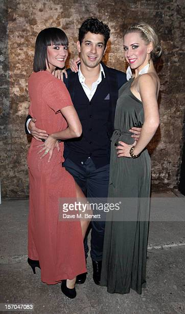 Jo Morris Adam Garcia and Michelle Bishop attend the Kiss Me Kate after party at Old Vic Tunnels on November 27 2012 in London England