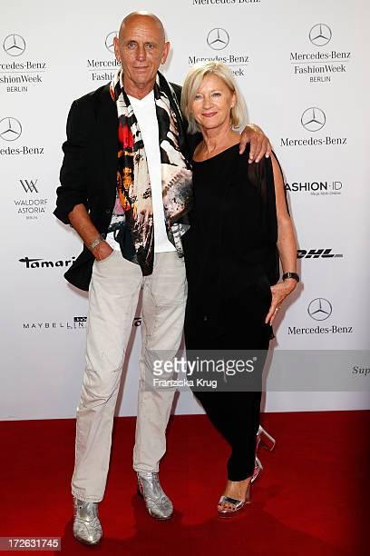 Jo Netzko and Elisabeth Schwaiger attend the Laurel Show during the MercedesBenz Fashion Week Spring/Summer 2014 at Brandenburg Gate on July 4 2013...