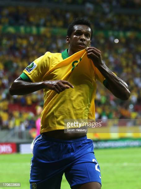 Jo of Brazil celebrates scoring his team's third goal during the FIFA Confederations Cup Brazil 2013 Group A match between Brazil and Japan at...