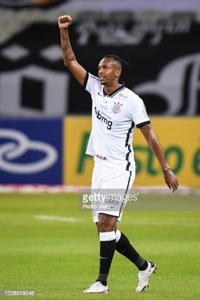 Jo of Corinthians celebrates a scored goal against Atletico MG during a match between Atletico MG and Corinthians as part of Brasileirao Series A...