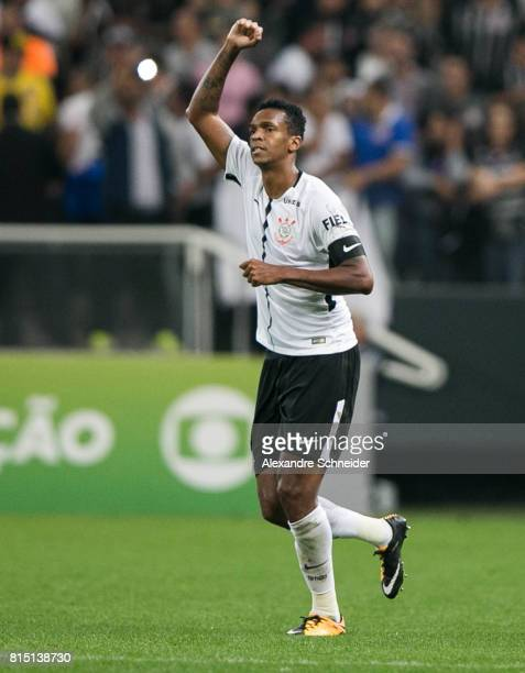 Jo of Corinthians celebrates their first goal during the match between Corinthians and Atletico PR for the Brasileirao Series A 2017 at Arena...