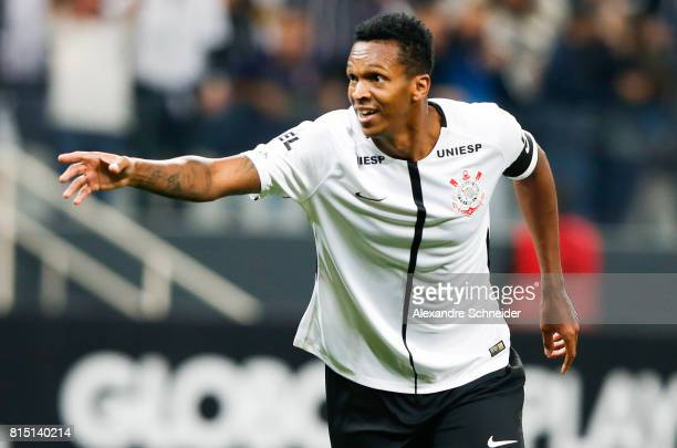 Jo of Corinthians celebrates their second goal during the match between Corinthians and Atletico PR for the Brasileirao Series A 2017 at Arena...