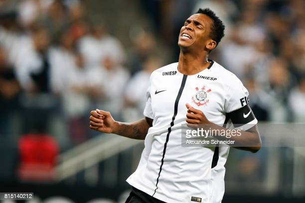 Jo of Corinthians reacts during the match between Corinthians and Atletico PR for the Brasileirao Series A 2017 at Arena Corinthians Stadium on July...