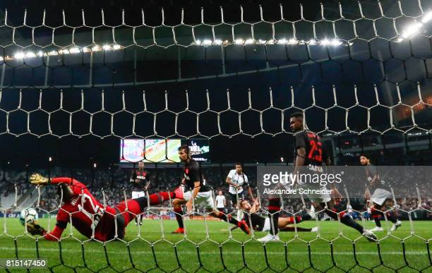 Jo of Corinthians scores their second goal during the match between Corinthians and Atletico PR for the Brasileirao Series A 2017 at Arena...