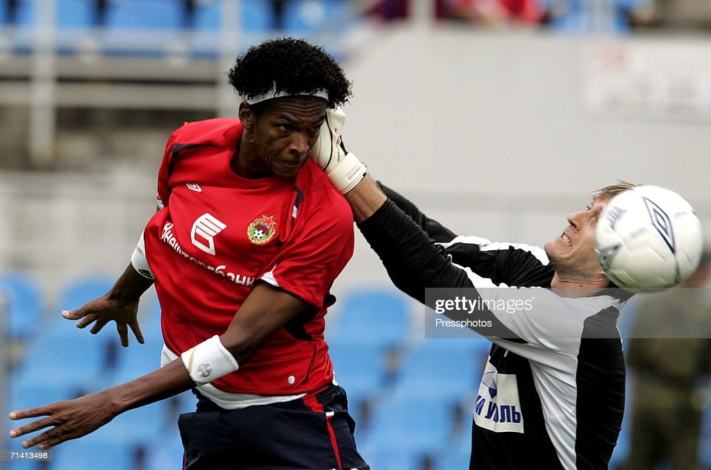 Jo of CSKA Moscow (L) competes against Andrei Chichkin of Rostov Rostov-on-Don during the Football Russian League Championship match between CSKA Moscow and Rostov Rostov-on-Don on July 10, 2006 in Moscow, Russia.