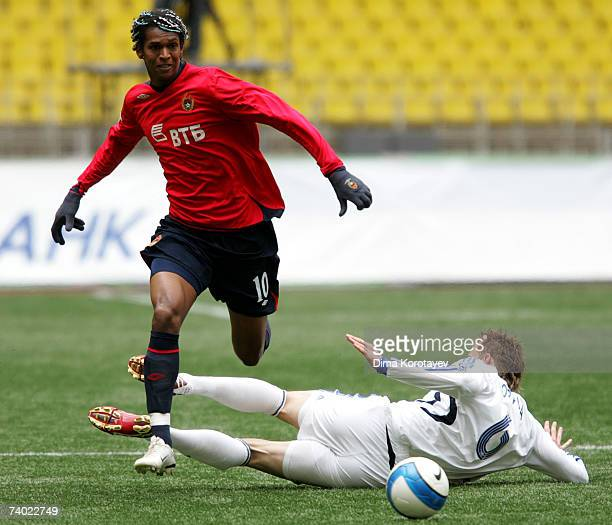 Jo of PFC CSKA Moscow competes for the ball with Jan Durica of FC Saturn Ramenskoe during the Russian Football League Championship match between PFC...