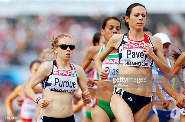 Jo Pavey and Charlotte Purdue of Great Britain compete in the Women's 10000 Metres Final during day five of the 21st European Athletics Championships...