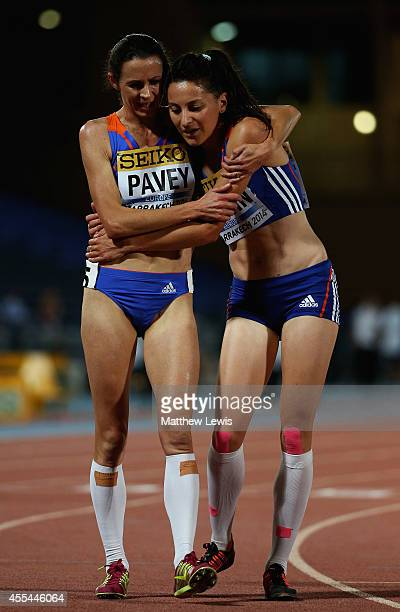 Jo Pavey and Clemence Calvin of Europe congratulate each other after the Womens 5000m Final during Day two of the IAAF Continental Cup at the Stade...