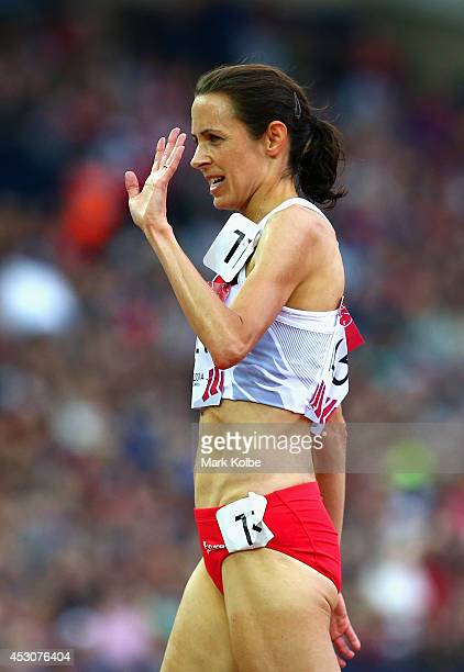 Jo Pavey of England celebrates winning bronze in the Women's 5000 metres final at Hampden Park during day ten of the Glasgow 2014 Commonwealth Games...