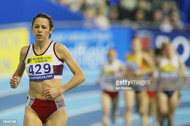 Jo Pavey of England in action in the Womans 3000 metres final during the Norwich Union World Indoor Athletics Trials at the English Institue of Sport...