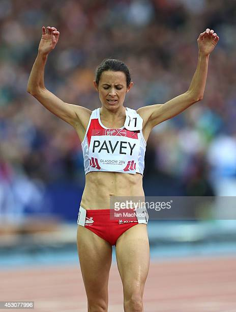 Jo Pavey of England takes third place in the Women's 5000m at Hampden Park during day ten of the Glasgow 2014 Commonwealth Games on August 02 2014 in...