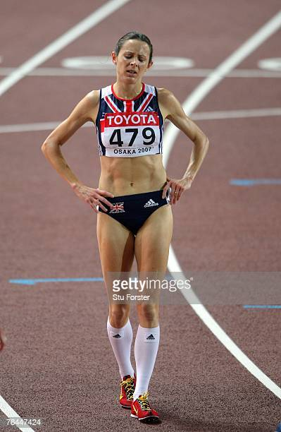 Jo Pavey of Great Britain after competing during the Women's 5000m Final on day eight of the 11th IAAF World Athletics Championships on September 1...